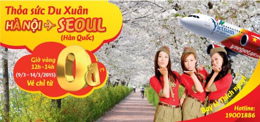 Bay Hà Nội- Seoul chỉ từ 0 đồng với Vietjet